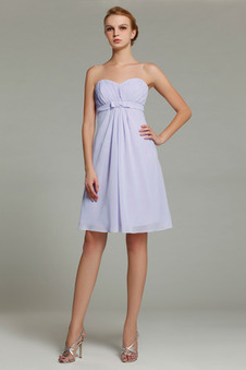 Robe Demoiselle D' Honneur Sans Bretelles Sans Manches Mousseline Polyester Simple Plage Empire